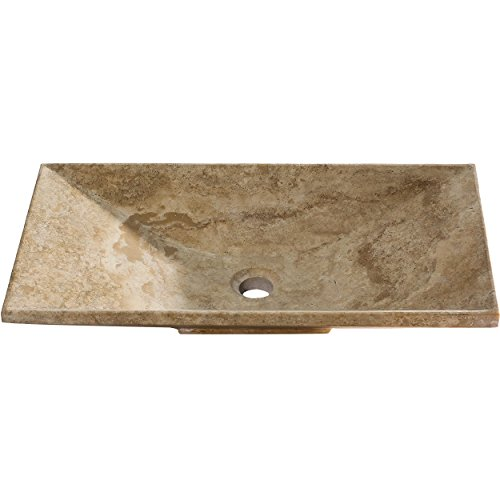 - Y Decor VICKI Travertine Vessel Sink, Beige/Tan/Natural/Yellow, 22.5