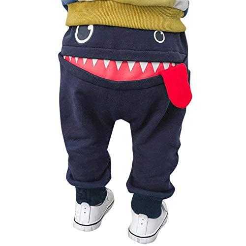 Baby Children Kids Boys Girls Cartoon Shark Pattern Tongue Harem Pants Trousers Pant Navy