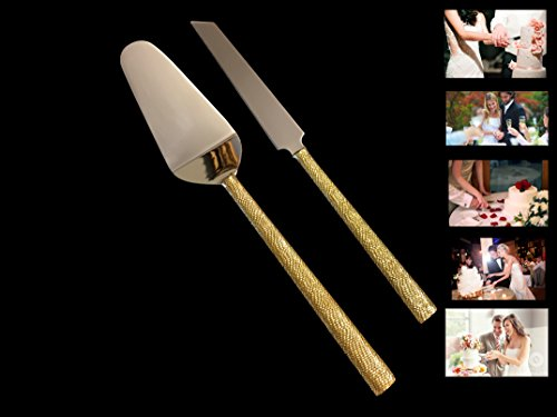 Elegant 2 Piece Cake Server Set. 1 Cake Knife and 1 Cake Server. 2 Tone Made of Stainless Steel and Beautiful Gold Design. Ideal for Weddings, Parties, Elegant events. by Le'raze