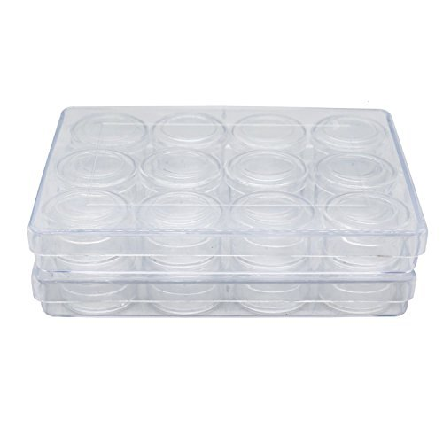 HUELE Pack of 2 Clear Bead Organizer with 12-Small Boxes-5.3X 4.7 INCH