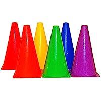 "Playscene Training Cones - Set of 6 Multicolored 9"" INCH Highly Durable Vinyl Cones (Multicolored Cones)"