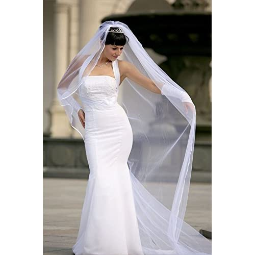 New Bridal Veil Diamond (Off) White 1 Tier Cathedral Length1/8in Satin Cord Edge for cheap