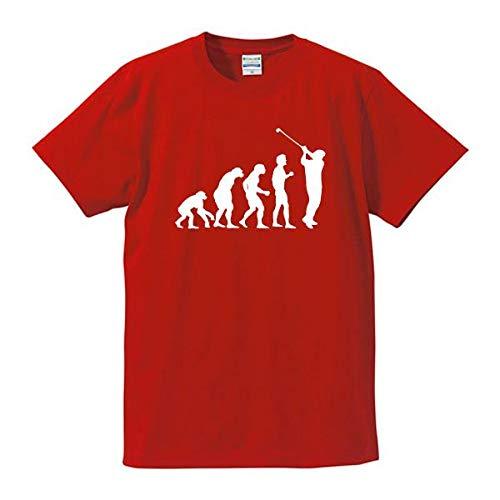 人類の進化(ゴルフ) レッド 面白Tシャツ グラフィックTシャツ 長寿?還暦祝い 大人用 4L