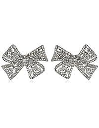 Kenneth Jay Lane Bride Clear Crystal Bow Ball Earrings