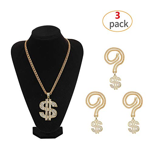 Yo-fobu 3 Pack Hip Hop Chain Necklace Rapper Gold Costume Necklace Jewelry Rapper Necklace for Club Rock Party, Long 27.5 inches, Wide 57mm ()