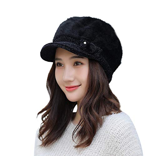 EnjoCho 2018 Elegant Women Knitted Hats Beanie Cap Autumn Winter Berets Ladies Female Fashion Skullies Beret Hat (Black)