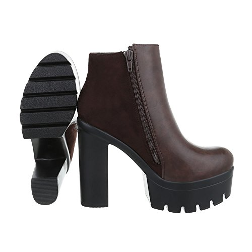 Ital-Design High Heel Stiefeletten Damenschuhe Schlupfstiefel Pump High Heels Reißverschluss Stiefeletten Braun