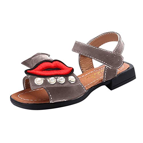 Orfilaly Girls Summer Princess Sandals,Children Bohemian Rhinestone Bow Low-Heel Party Prom Shoes for Causal Beach Holiday Khaki