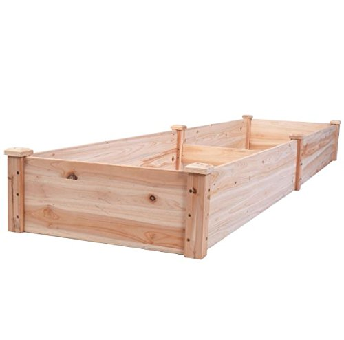 New 8' x 2' Wood Garden Raised Bed Vegetables Planter Kit Elevated Box Flower Gardening Grow Plant Herb Cedar Outdoor… 3