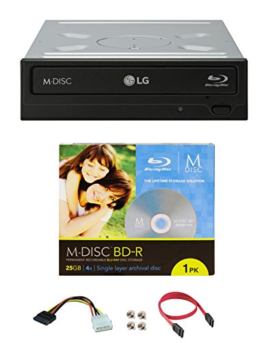 (LG WH16NS40 16X Blu-ray BDXL DVD CD Internal Burner Drive Bundle with Free 25GB M-DISC BD + SATA Cable + Mounting Screws)