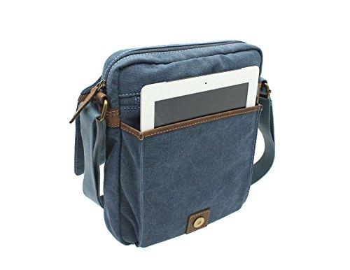 CACTUS Messenger-Tasche Leinen und geöltes Leder im Used-Look CM815_81 Khaki Denim dR8f86FKoV