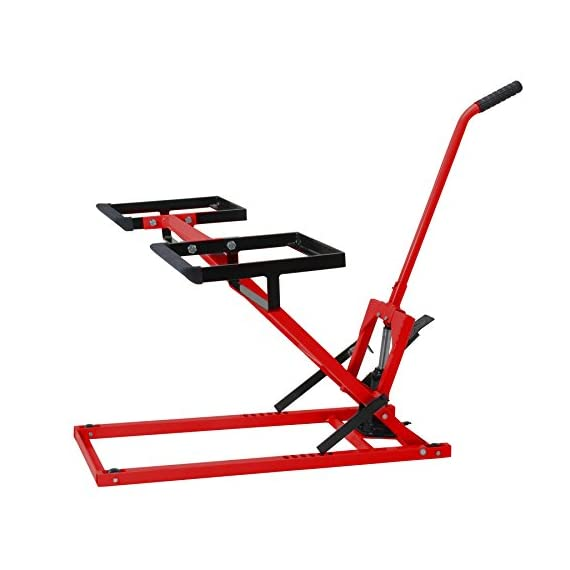 Pro Lift Lawn Mower Jack Lift with 300 Lbs Capacity for Tractors and Zero Turn Lawn Mowers 4 Safety Lock for Safely Supporting the Load Rubber Padded Platform to Prevent Scratching and to Protect your Machine Non-Slip Foot Pedal Allows Effortless Lifting the Load