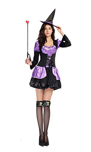 [Bulacker Long Sleeved Sexy Witch Installed Role Play Costume Set,black&purple] (Cute Easy Group Costumes Ideas)