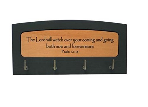 The Lord will watch over wood Christian gift wall key holder hooks Psalm 121:8 21cm hanger