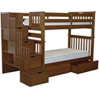 Bedz King Tall Stairway Bunk Beds Twin over Twin with 4 Drawers in the Steps and 2 Under Bed Drawers, Espresso