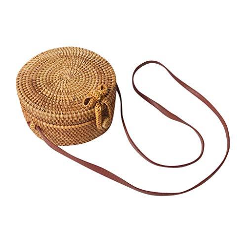 Women's Hand-knitted Round Box Bag Rattan Woven Linen Inner Bow Messenger Bag Bali Vintage Simple Rattan Grass Beach Bag Women's Woven Crossbody Bag (B)