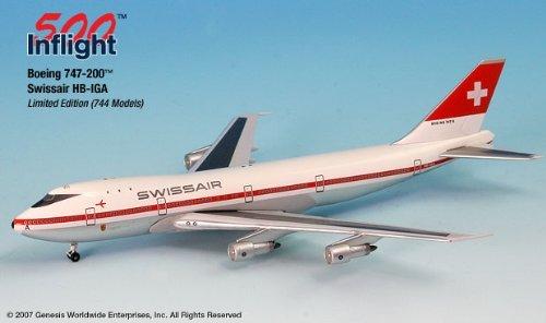 Swissair HB-IGA 747-200 Airplane Miniature Model Metal Die-Cast 1:500 Part# A015-IF5742009