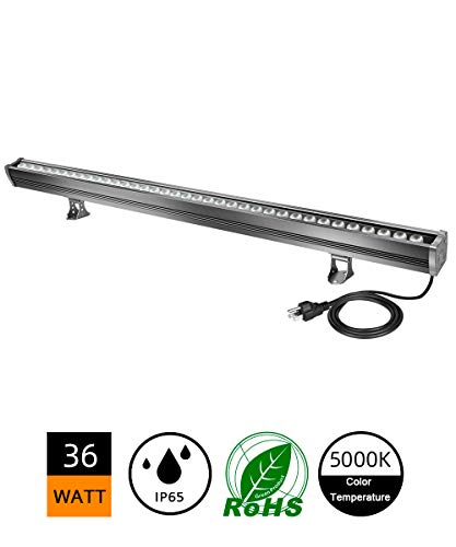 H-TEK 36W LED Wall Washer Linear Light Bar, [200W HPS/HID Equivalent], 5000k Cool White, 3600lm, 120V, IP65 Waterproof, 3.2ft/40 inches, Hotels, Villa, Resort, Advertisement Billboard Lighting