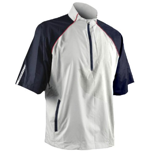 Sun Mountain 2017 Men's Headwind Short-Sleeve Pullover (White-Navy-Red, Medium) ()