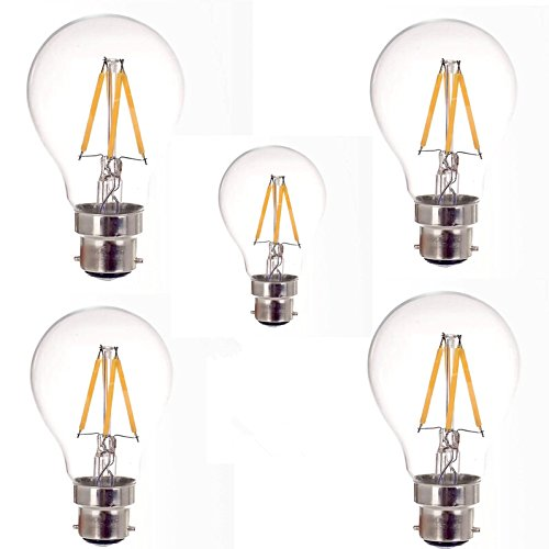 - ONDENN LED Filament Lamp A60 B22 4W 400LM 2700K Warm White 120V Dimmable Replacement for 60Watt Classic Light Bulb Pack of Five