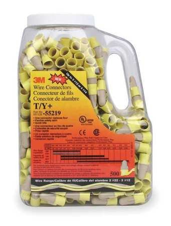 T/Y - Tan/Yellow Wire Connector - (Pack of 500) (3m Nuts)