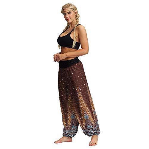 Masun Unisex Yoga Pants Jumpsuit Bohemian Vintage Elastic High Waist Wide Leg Hippy Casual Loose Baggy Aladdin Trousers Brown ()