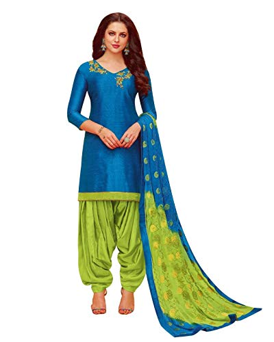 Ladyline Plain Silk Handworked Patiala Salwar Kameez Embroidered Partywear Indian Pakistani Dress for Womens (Size_46/ Blue) Blue Cotton Silk Kameez
