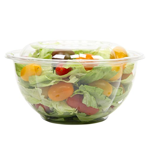 Clear Plastic Bowl With Dome Lids for Salads Fruits Parfaits, 32oz, Disposable, Medium Size [50 Pack]