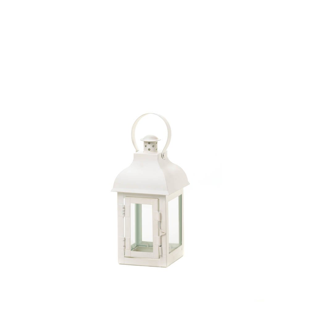 White Locomotion Gable Style Lantern Candle Holder Small | ChristmasTablescapeDecor.com