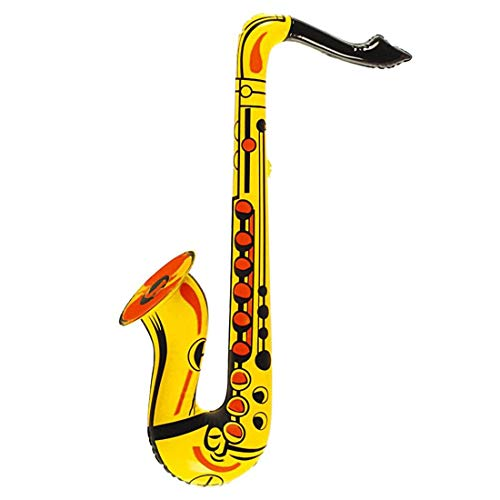My Choice Stuff Kids Inflatable Blow Up Saxophone Girls Boys Pop Jazz Party Toys Fancy Dress Party Accessory Yellow One Size (55cm) ()