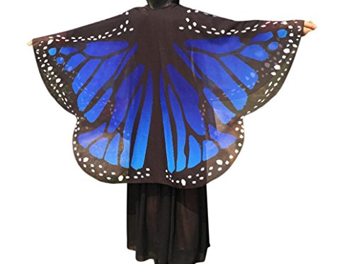 Lady Butterfly Wings Shawl Chiffon Mokao Women T-shirt Tops Blouse Loose Kimono Cardigan (Blue)