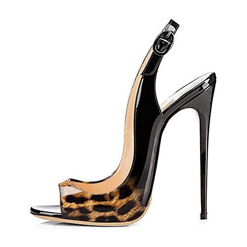 EKS - Zapatos de vestir para mujer Schwarz-Leopard