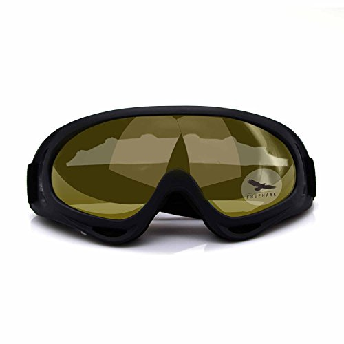 Freehawk Adjustable UV Protective Outdoor Glasses Motorcycle Goggles Dust-proof Protective Combat Goggles Military Sunglasses Outdoor Tactical Goggles to Prevent Particulates in Yellow
