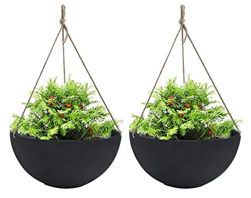 Hanging Planters Large 2 Pack 13.2 Inch Indoor Outdoor, Resin Unbreakable Garden Planters for Plants and Flower, with Drain Hole, Large Black ()