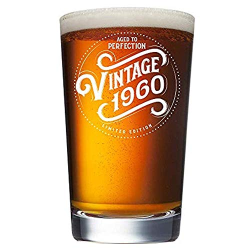 1960 60th Birthday Gifts for Men and Women Beer Glass - 16 oz Funny Vintage 60 Year Old Pint Glasses for Party Decorations - Anniversary Gift Ideas for Dad, Mom, Husband, Wife - Best Craft Beers Mug