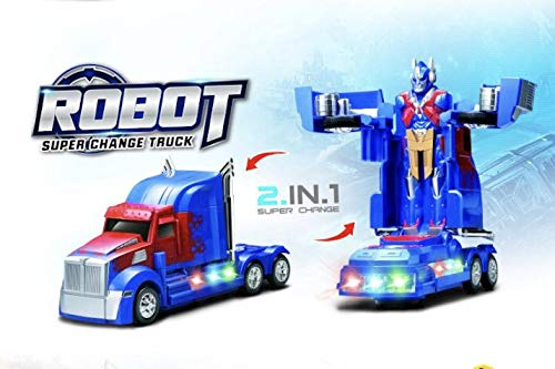 INCHOI Robot Races car Battery Operated Bump and Go Transforming Toys for Kids -Auto Transforming Auto Robots Action Figure and Toy Vehicles - Realistic Engine Sounds & Beautiful Flash Lights ()