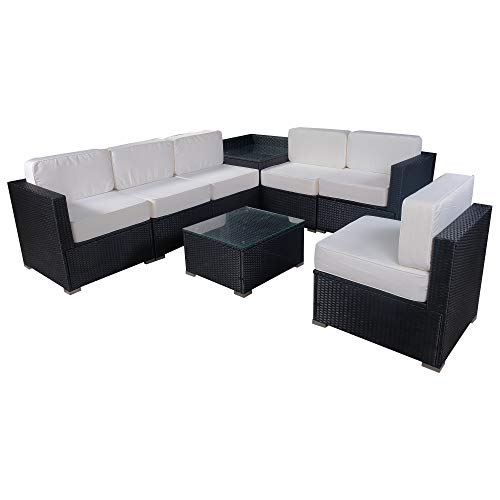 Mcombo Outdoor Wicker Sofa Sectional Furniture Luxury Large Size Patio Rattan Chair with 6 Inch Cushions(Creme White) 6082 - Middle Patio Sectional