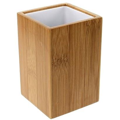 Gedy Potus Wood Square Toothbrush Holder, Natural/Bamboo 416U2 2BDX6gL