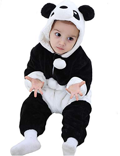 Tonwhar Baby Animal Cat Onesie Romper Halloween Costume (70 Ages 3-6 Months, Panda) -