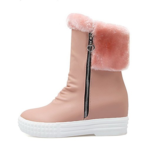 Allhqfashion Women's Low-top Solid Zipper Closed Round Toe Kitten-Heels Boots Pink ZiFxfLiCj