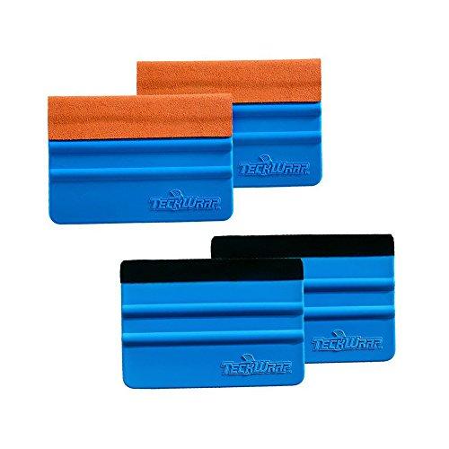TECKWRAP Black & Orange Felt Edge Decal Squeegee 4 Inch Wrapping Scraper Squeegee Tool for Car Vehicle Window Film Vinyl 2 Pairs -