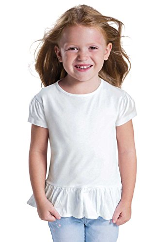 (Rabbit Skins Toddler Girls' 100% Cotton Jersey Short Sleeve Ruffle Tee (Hot Pink, 2 Toddler))