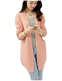 Women's Knitted Open Front V Neck Jacket Long Sleeve Pullovers Sweater Cardigan