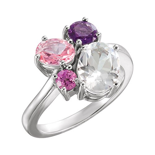 Bonyak Jewelry 14k White Gold White Topaz, Amethyst, Pink Topaz & Chatham Created Pink Sapphire Cluster Ring - Size 7