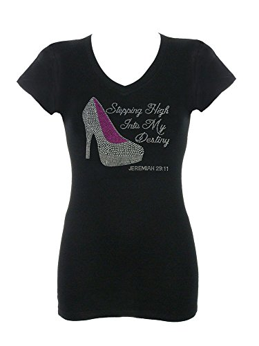 Women's Stepping High Into My Destiny Rhinestone Bling T-Shirts Black XLarge