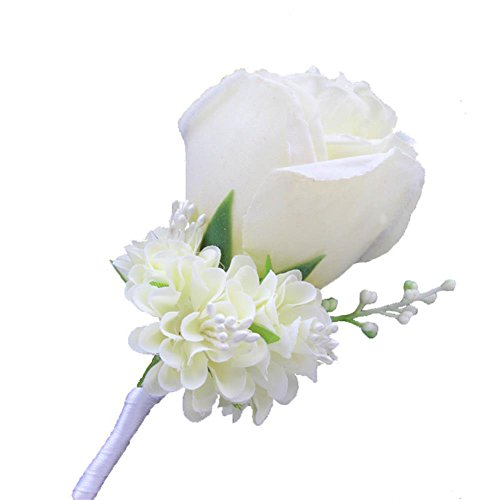 WeddingBobDIY Boutonniere Buttonholes Groom Groomsman Best Man Rose Wedding Flowers Accessories Prom Suit Decoration Ivory