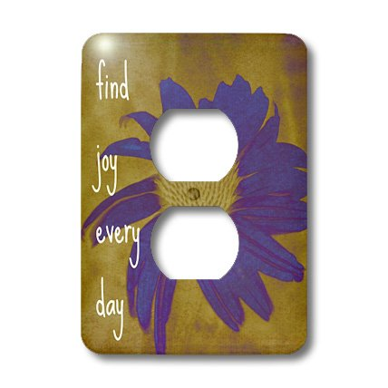 3dRose LLC lsp_41170_6 Purple Flower Find Joy Every Day Inspirational Quotes Art 2 Plug Outlet Cover