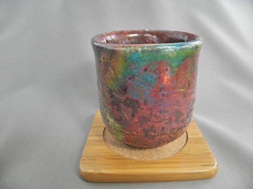 陶芸作家 荒川明作『虹彩楽焼 湯のみ』gyu-3木箱付き こだわりのギフト、還暦祝いなどの贈り物に最適無料ラッピング承ります B079NTB7YY