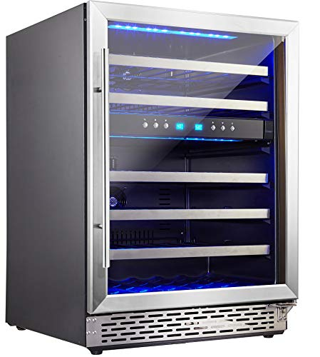 Cheap Phiestina 46 Bottle Wine cooler 24 Inch Dual Zone Built-In or Freestanding Wine Refrigerator with Compressor Cooling System
