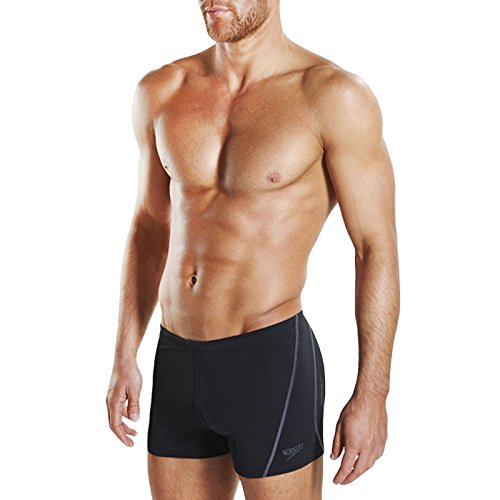 Speedo Mens Essential Splice Aquashort Swimming Boxer Trunks - Black/Grey - - Swimsuit Pbt Material